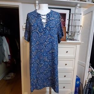 OLD NAVY BLUE PAISLEY LACE UP DRESS XL NWT
